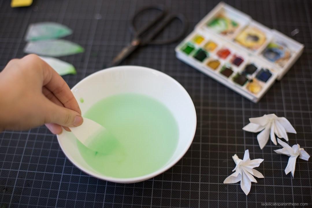 princesse DIY couronne de fleur en papier aquarelle, vaiana