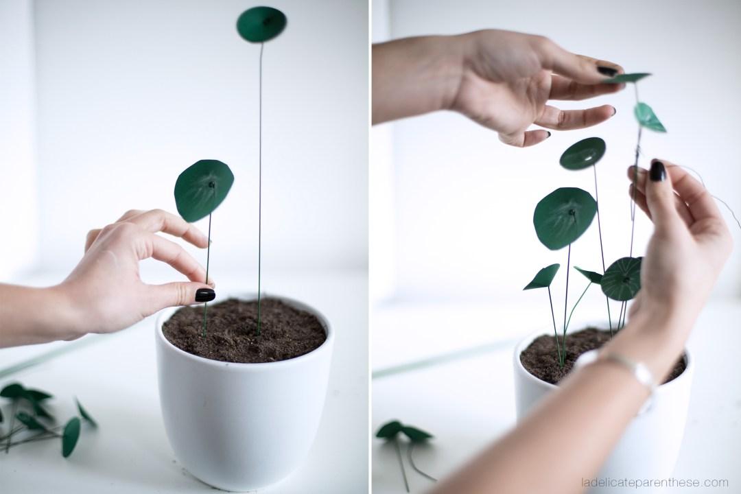DIY création pilea peperomioides en papier réalisation handmade