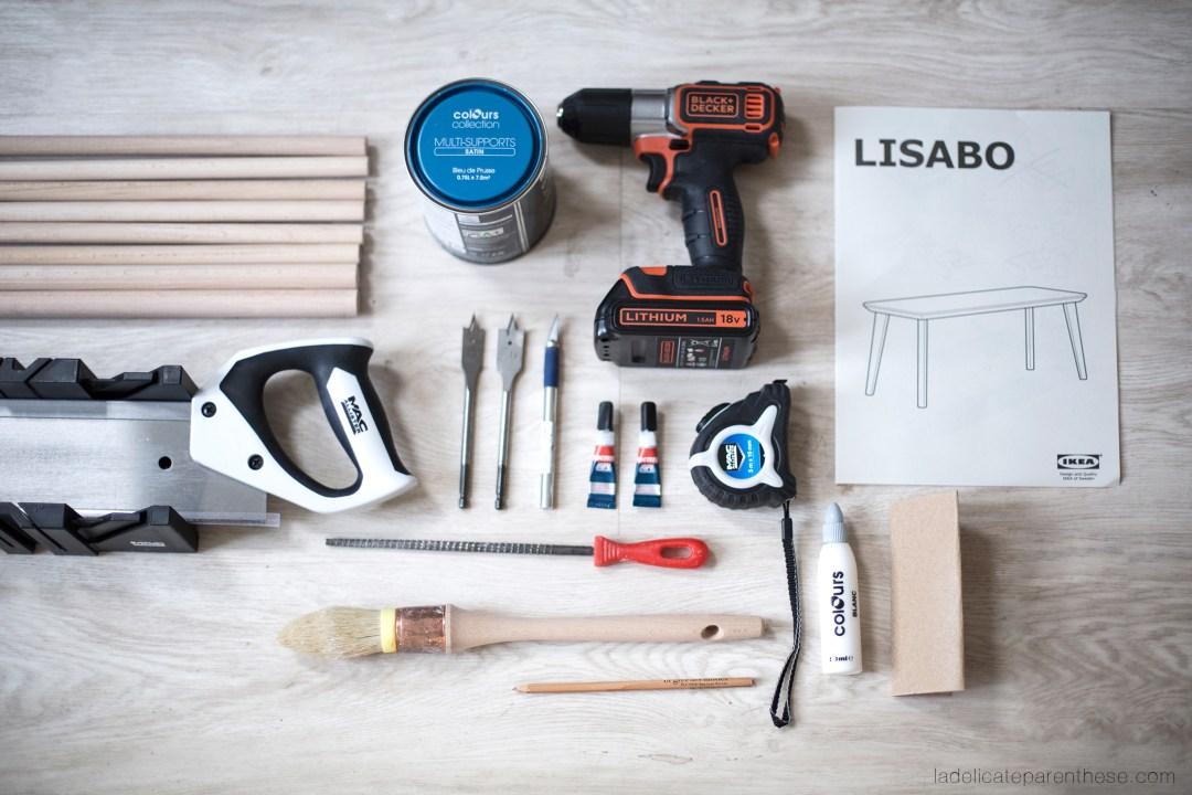 outils DIY banc metamorphose IKEA HACK creation