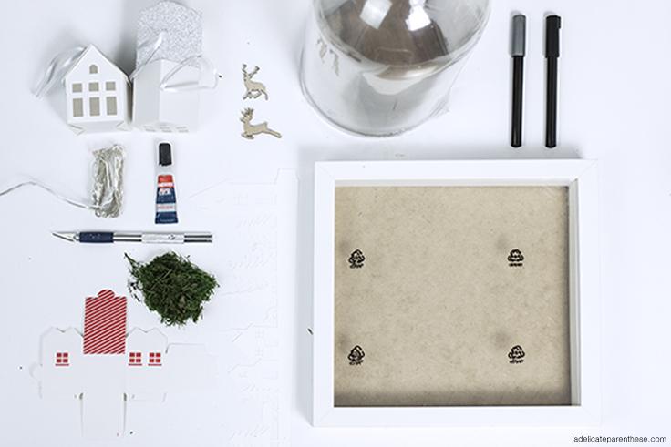 étape création DIY cloche village en papier outils