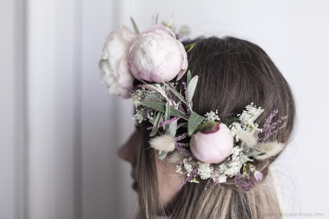création Do it yourself blog d'une couronne fleurie d'été boho- champêtre
