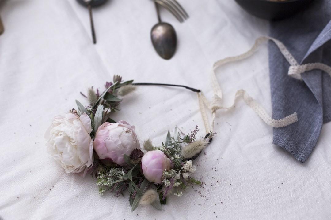couronne de fleurs bohème et champêtre- HANDMADE