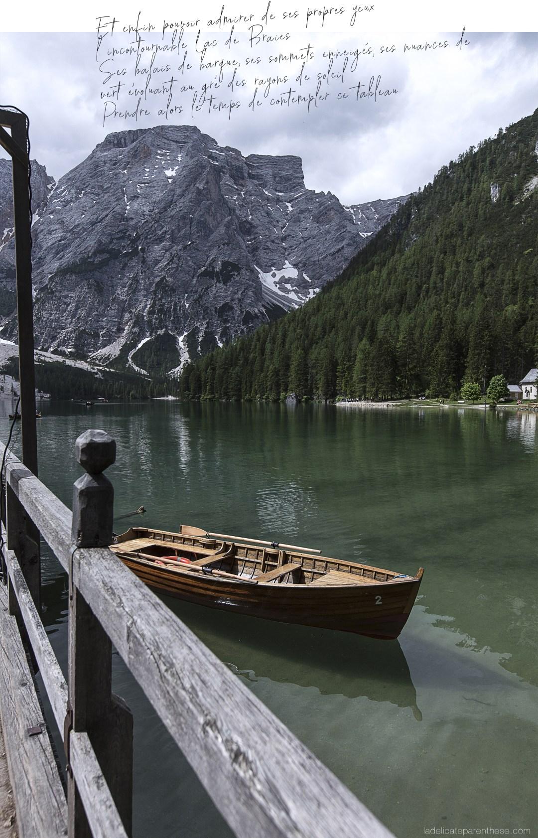 Lago di braies, barque et note de voyage