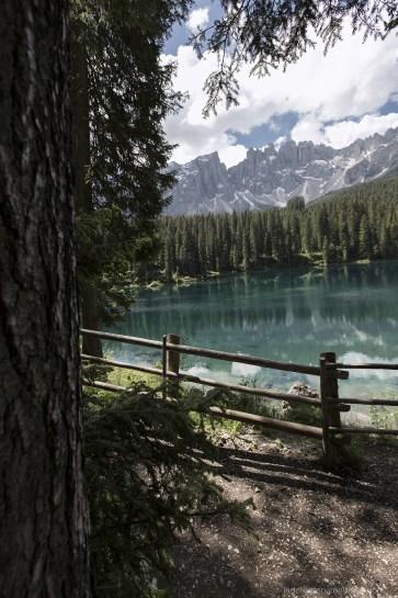 lac de karersee paysage, et sapin