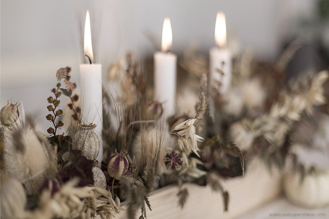 Bougeoir et centre de table fleurs séchées création
