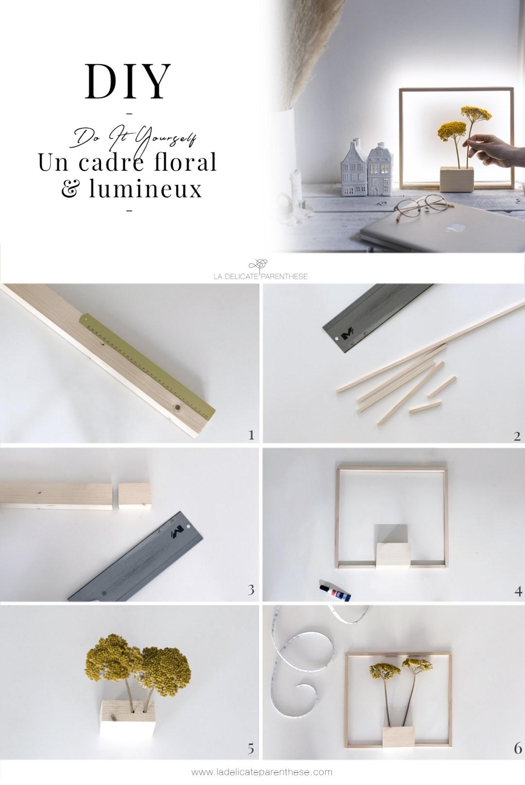 pas à pas DIY création d'un cadre floral & lumineux