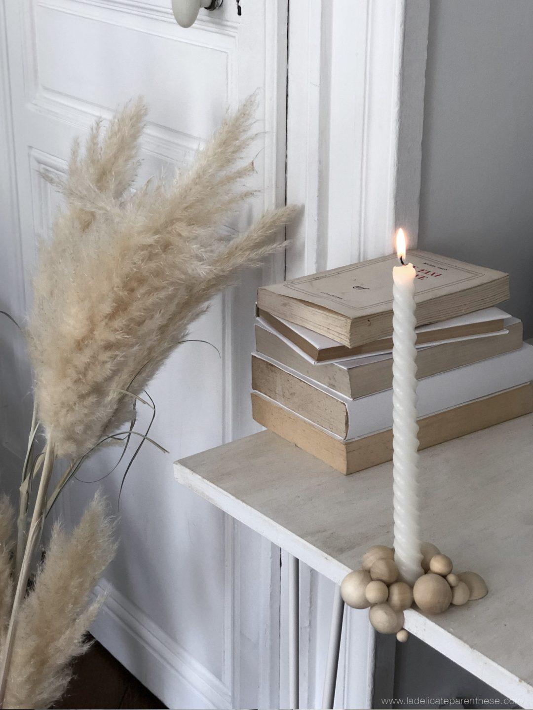 creation bougeoir perle de bois minimaliste