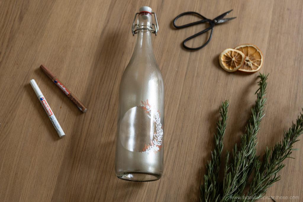 étapes création bouteille personnalisée pour le réveillon