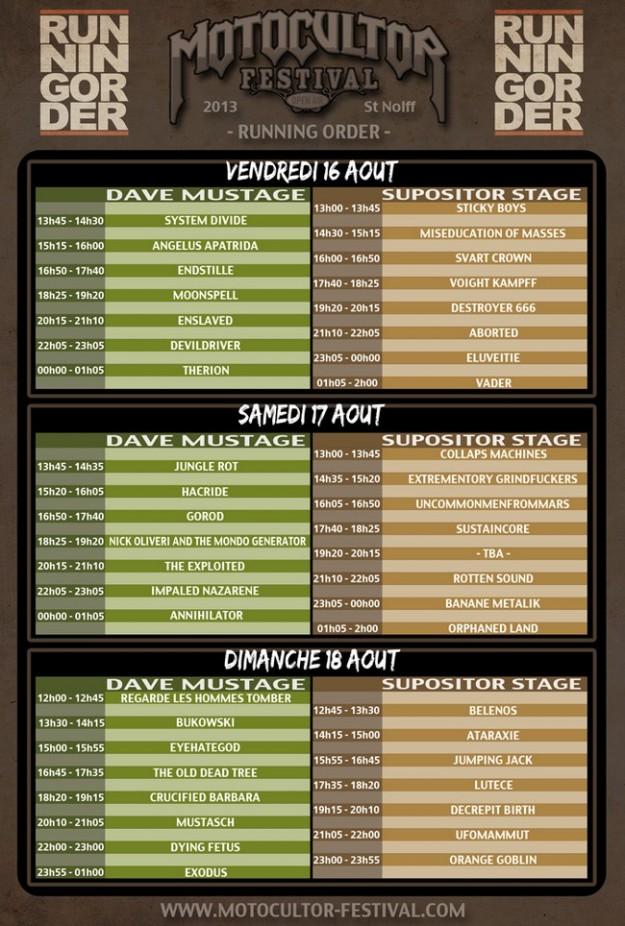 Motocultor Festival running order 2013 - La Déviation