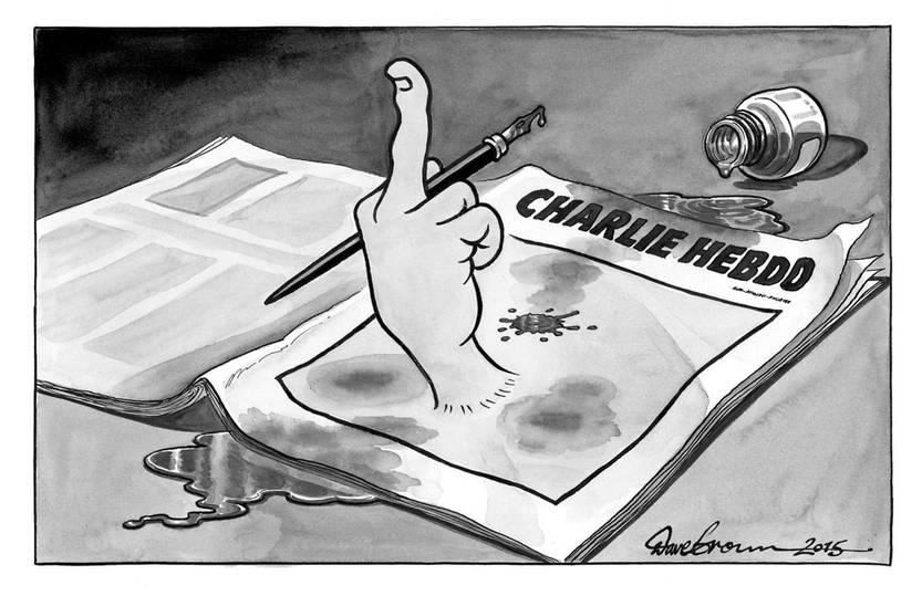 Viñeta de Dave Brown publicada en el periódico The Independent del Reino Unido, en solidaridad con Charlie Hebdo. Efe