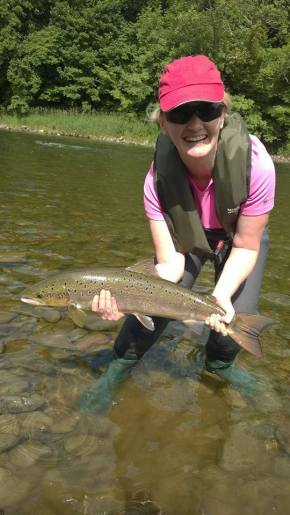 Mandy's first salmon on the fly