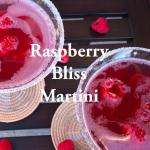 Raspberry Bliss Martini made with Raspberry Vodka, Chambord, Cointreau, Lemon Juice, Sweet 'n Sour, and garnished with a sugar rim and fresh raspberries.