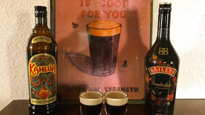 Baby Guinness Shot fall inspired made with autumn flavors Salted Caramel Kahlua and Pumpkin Spice Bailey's