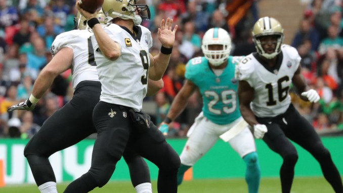 Drew Brees Quarterback for the New Orleans Saints. 2018 NFL Week 8 Fantasy Football Quarterback Rankings