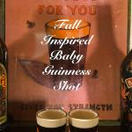 Fall Inspired Baby Guinness Shot that looks like a mini pint of Guinness. Made with Salted Caramel Kahlua and Pumpkin Spice Baileys.