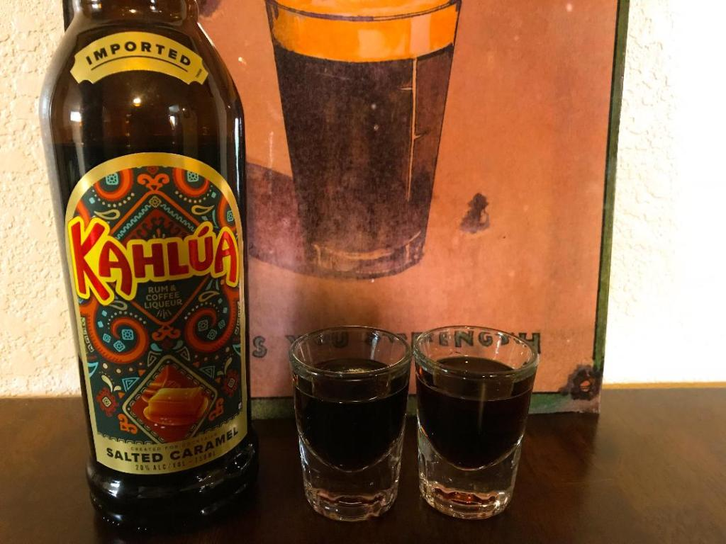 Baby Guinness Shot fall inspired made with Salted Caramel Kahlua and Pumpkin Spice Baileys