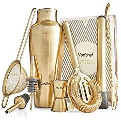 Brushed Gold Cocktail Shaker Set