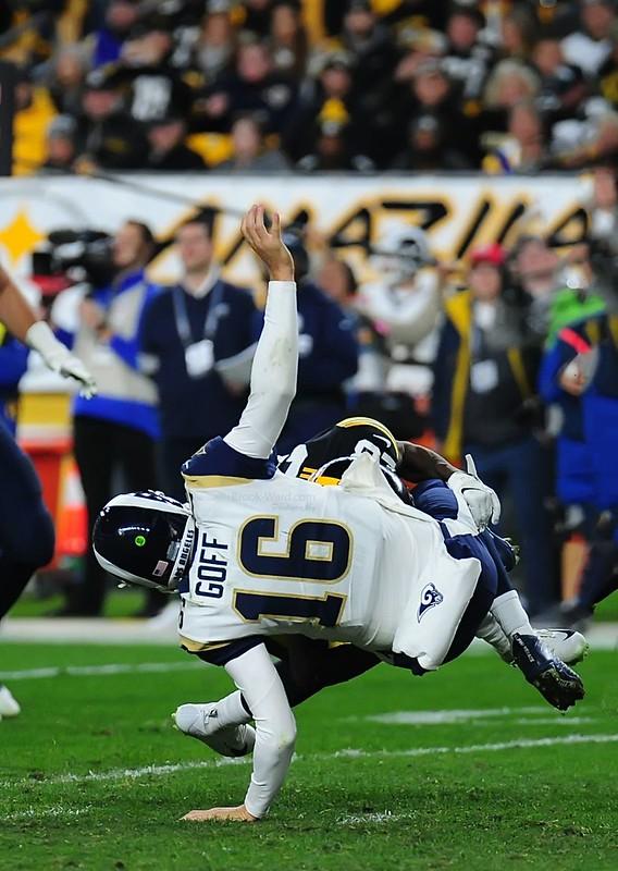 NFL Los Angeles Rams quarterback Jared Goff getting sacked