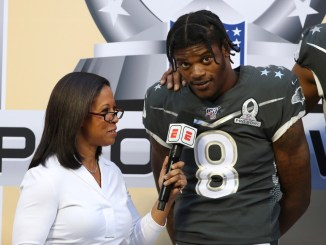 NFL Baltimore Ravens quarterback Lamar Jackson getting interviewed at the NFL Pro Bowl