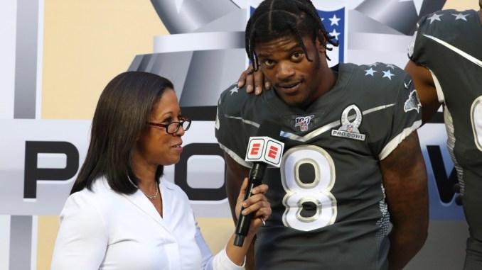 NFL Baltimore Ravens quarterback Lamar Jackson getting interviewed at the NFL Pro Bowl