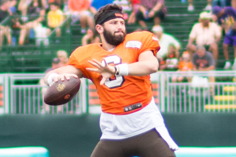 NFL Cleveland Browns quarterback Baker Mayfield throwing a football pass