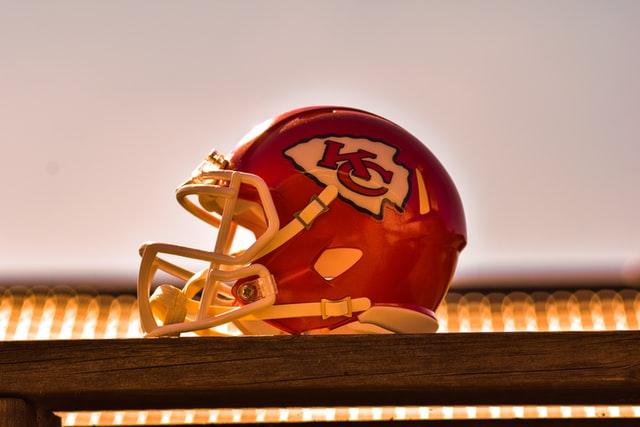 A Kansas City Chiefs NFL helmet