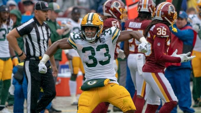 NFL Green Bay Packers running back Aaron Jones celebrating a big play