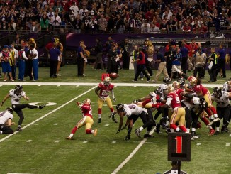 NFL Baltimore Ravens kicker Justin Tucker attempting a field goal against the San Francisco 49ers