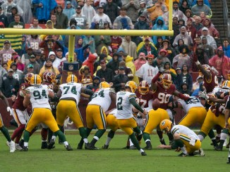 Green Bay Packers kicker Mason Crosby kicking a field goal against the Washington Football Team