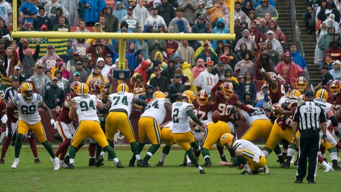 Green Bay Packers kicker Mason Crosby kicking a field goal against the Washington Football Team