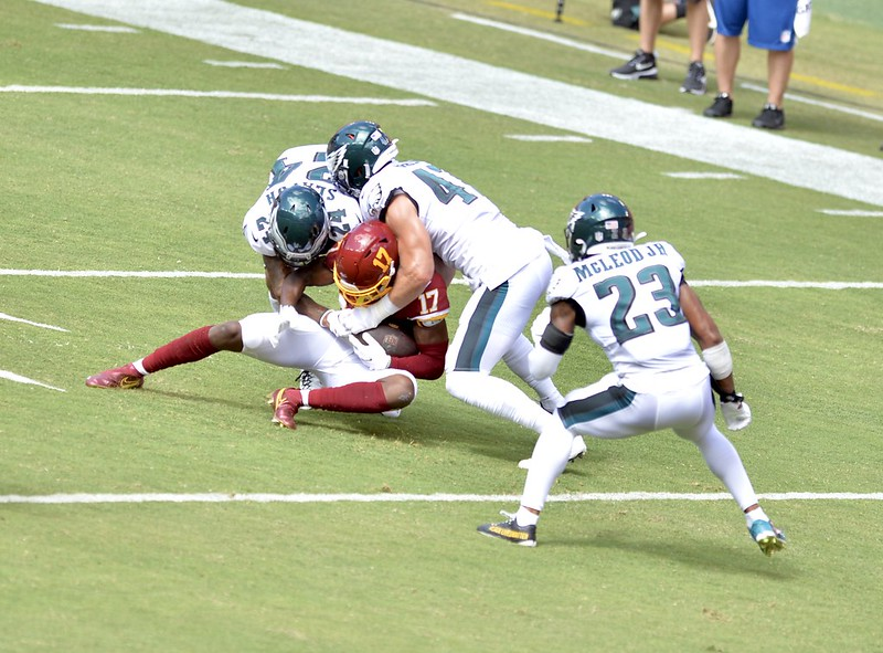 The NFL Philadelphia Eagles defense tackling Washington Football Team wide receiver Terry McLaurin