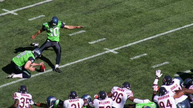 NFL Seattle Seahawks kicker attempting a field goal against the Chicago Bears