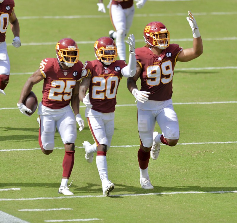 NFL Washington Football Team defense celebrating a big play