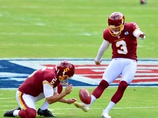 NFL Washington Football Team kicker Dustin Hopkins attempting a field goal