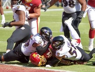 Baltimore Ravens defense piled on top of Washington Football Team running back Antonio Gibson