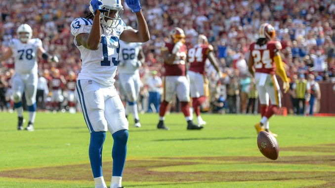 NFL Indianapolis Colts wide receiver T.Y. Hilton celebrating a touchdown against the Washington Football Team.