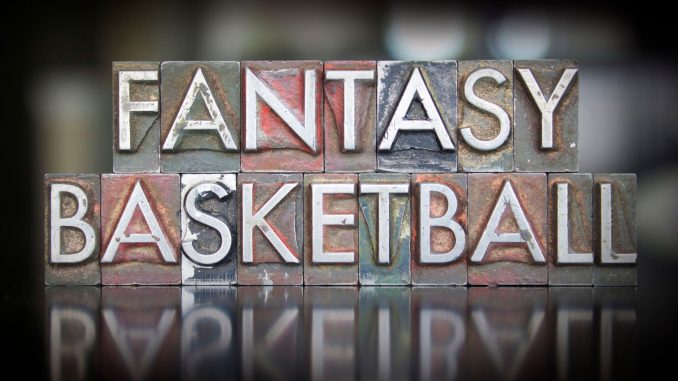 The words FANTASY BASKETBALL spelled out using ink letterpress.