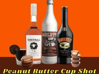 The Reese's Peanut Butter Cup Shot is made with smooth Skrewball Peanut Butter Whiskey, creamy Meletti Cioccolato Liqueur, luscious Baileys Irish Cream, and garnished with a Reese's Peanut Butter Cup on the side of the shot glass.