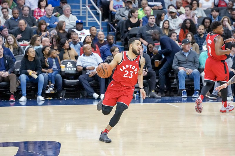 NBA Toronto Raptors shooting guard Fred VanVleet dribbling the basketball in a game against the Washington Wizards.