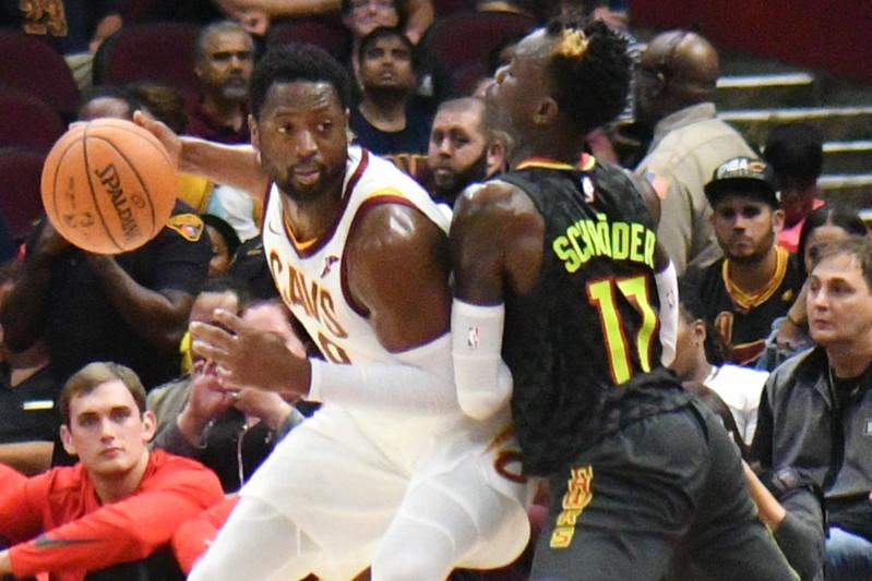 NBA Cleveland Cavaliers superstar shooting guard Dwyane Wade playing against the Atlanta Hawks.