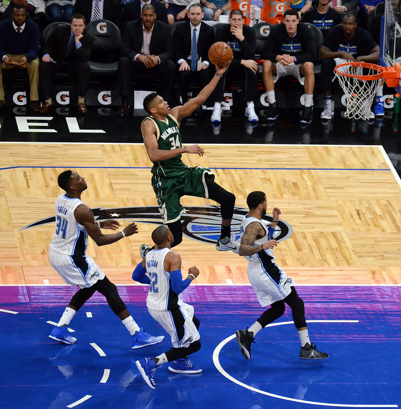 NBA Milwaukee Bucks power forward Giannis-Antetokounmpo making a lay up.