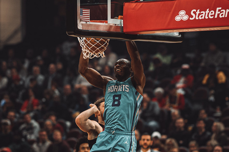 NBA Charlotte Hornets center Bismack Biyombo dunking the basketball on the Cleveland Cavaliers.
