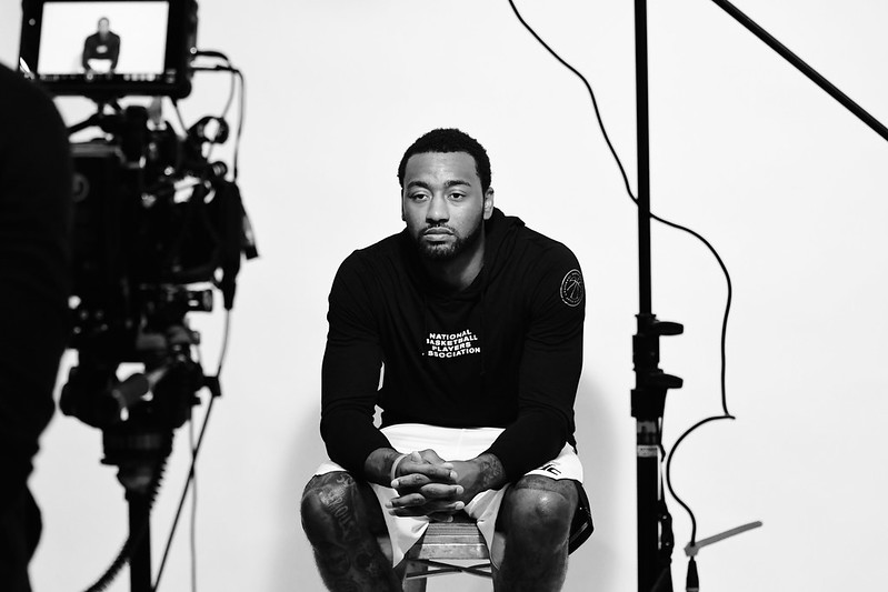 NBA Houston Rockets point guard John Wall sitting for an interview.