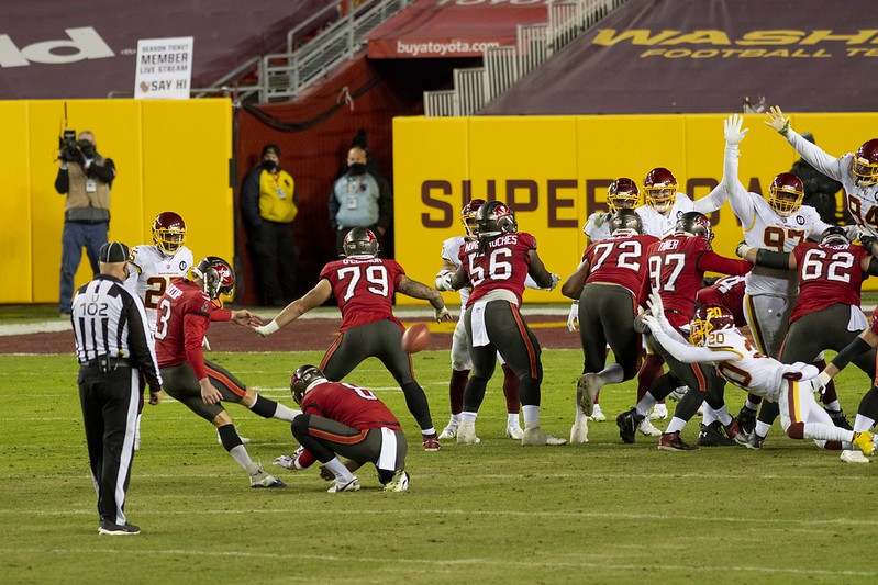 Tampa Bay Buccaneers kicker Ryan Succop kicking a field goal agasint the Washington Football Team in the playoffs.