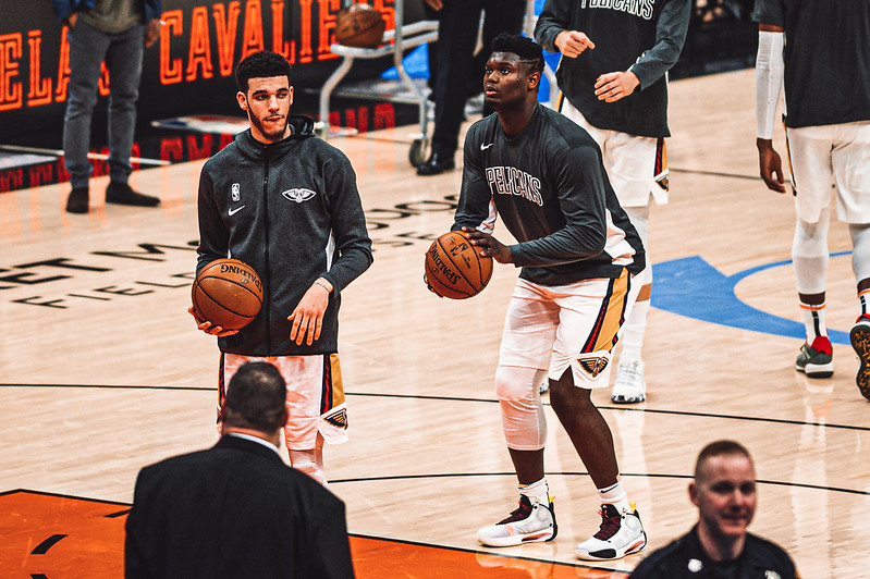 NBA New Orleans Pelicans power forward Zion Williamson and point guard Lonzo Ball warming up before a game against the Cleveland Cavaliers.