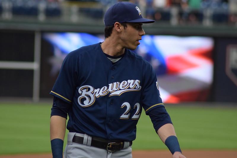 MLB Milwaukee Brewers right fielder Christian Yelich on the baseball field.