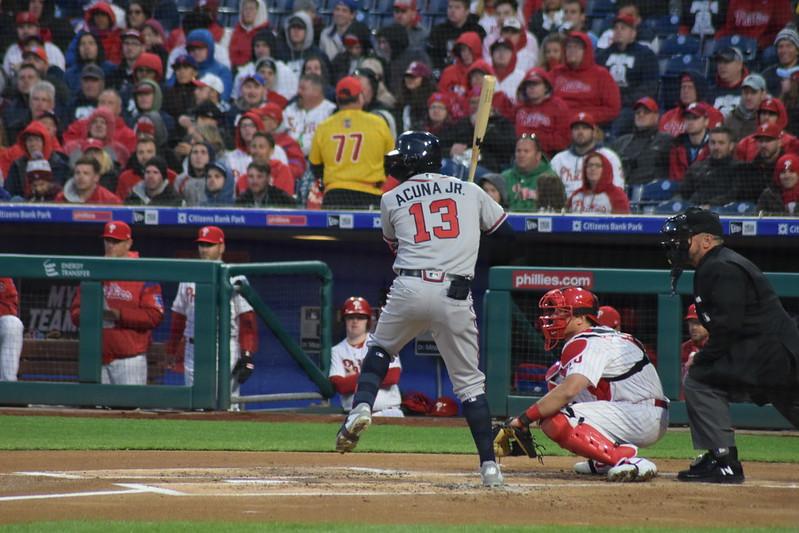 Atlanta Braves left fielder Ronald Acuna Jr. up to bat.