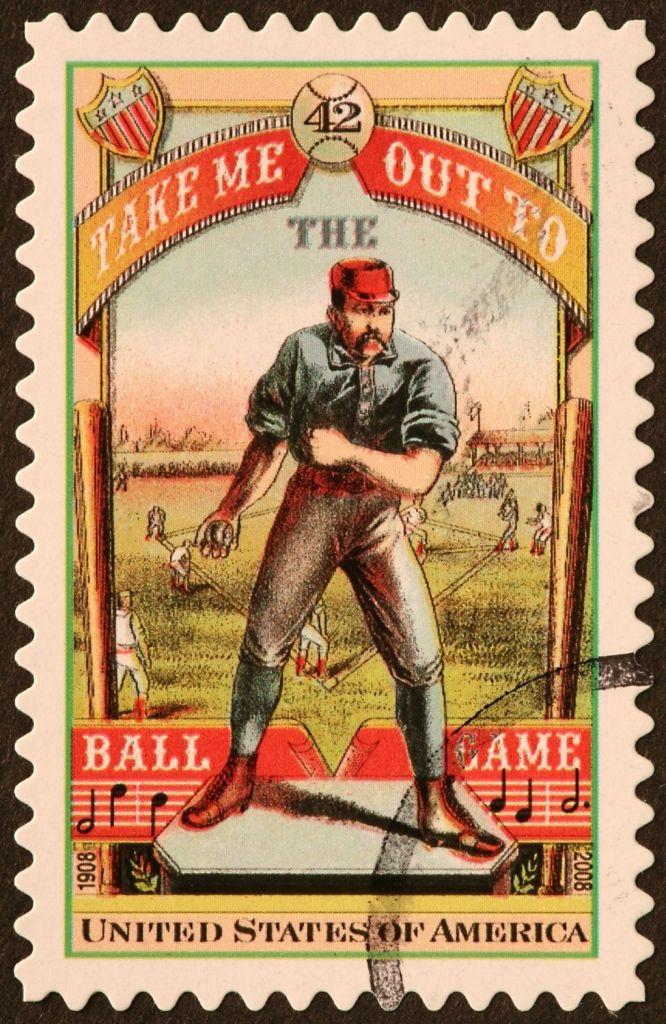 Vintage Baseball Player Stamp