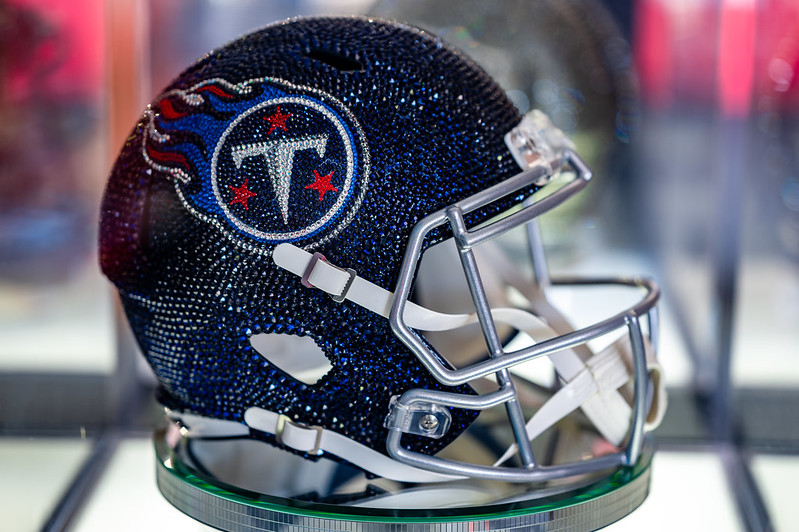 A Tennessee Titans crystal helmet on display at the 2021 NFL Draft Experience in Cleveland, Ohio.
