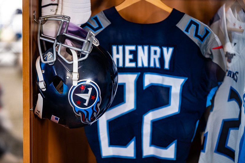 Tennessee Titans running back Derrick Henry's locker on display at the 2021 NFL Draft Experience in Cleveland, Ohio.